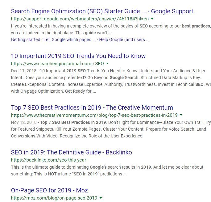 SEO Best Practices for 2019