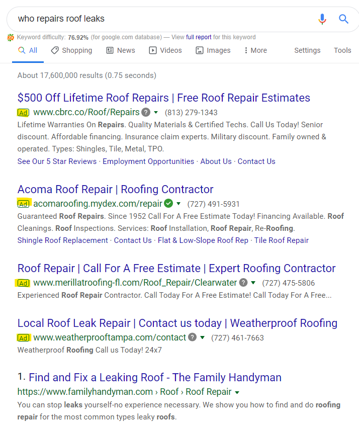 local business SEO example in search